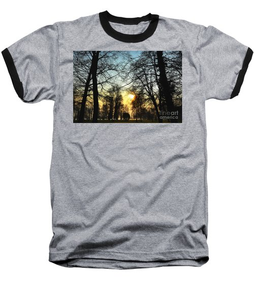 Trees And Sun In A Foggy Day Baseball T-Shirt