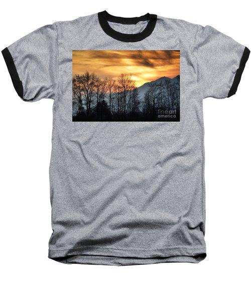 Trees With Orange Sky Baseball T-Shirt