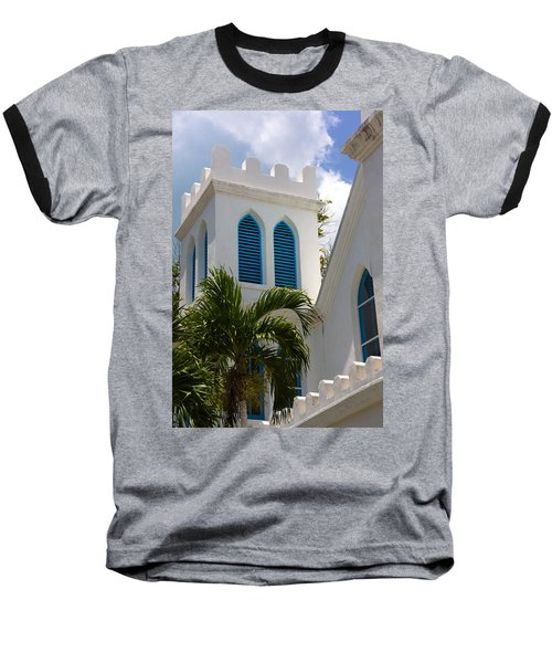 Baseball T-Shirt featuring the photograph Trinity Presbyterian Church Tower by Ed Gleichman