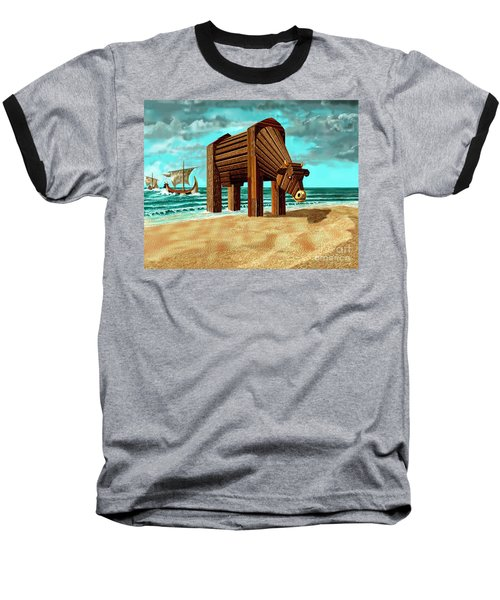 Trojan Cow Baseball T-Shirt by Russell Kightley