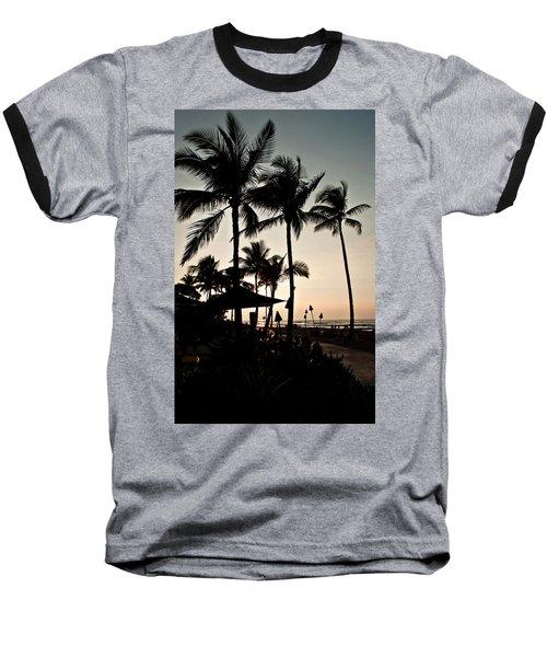 Tropical Island Silhouette Beach Sunset Baseball T-Shirt by Valerie Garner