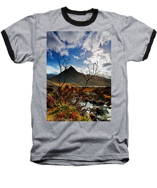 Baseball T-Shirt featuring the photograph Tryfan And Tree by Beverly Cash