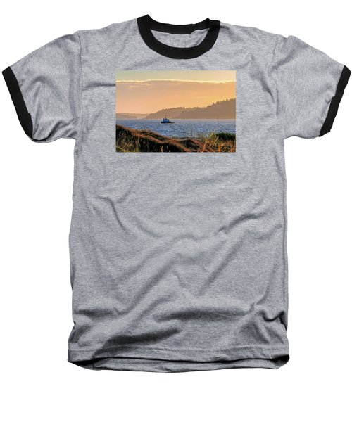 Twilight Tug -chambers Bay Golf Course Baseball T-Shirt by Chris Anderson