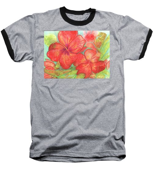 Two Hibiscus Blossoms Baseball T-Shirt by Carla Parris