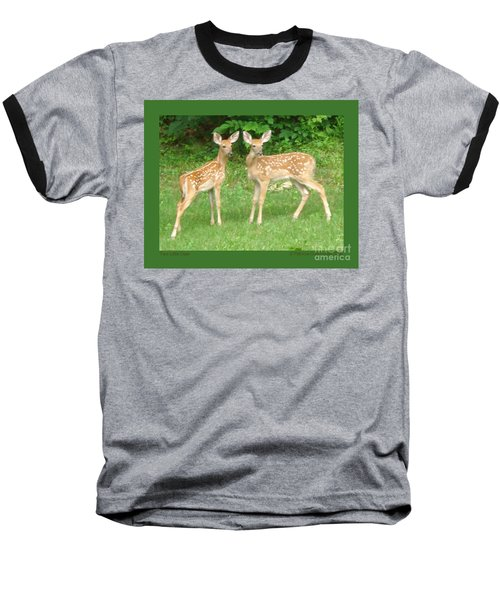 Two Little Deer Baseball T-Shirt by Patricia Overmoyer