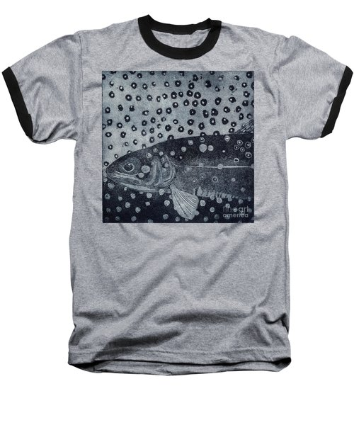 Unique Etching Artwork - Brown Trout  - Trout Waters - Trout Brook - Engraving Baseball T-Shirt