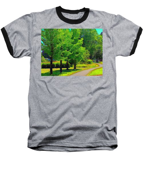 Baseball T-Shirt featuring the mixed media Van Gogh Trees by Terence Morrissey