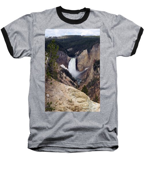Vertical Lower Falls Of Yellowstone Baseball T-Shirt by Living Color Photography Lorraine Lynch
