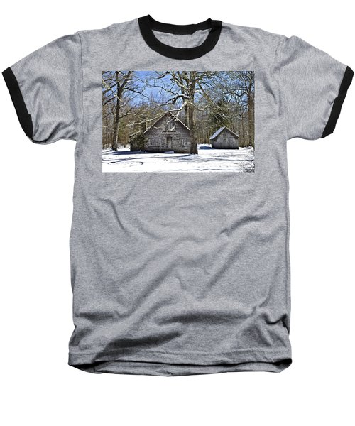 Vintage Buildings In The Winter Snow Baseball T-Shirt