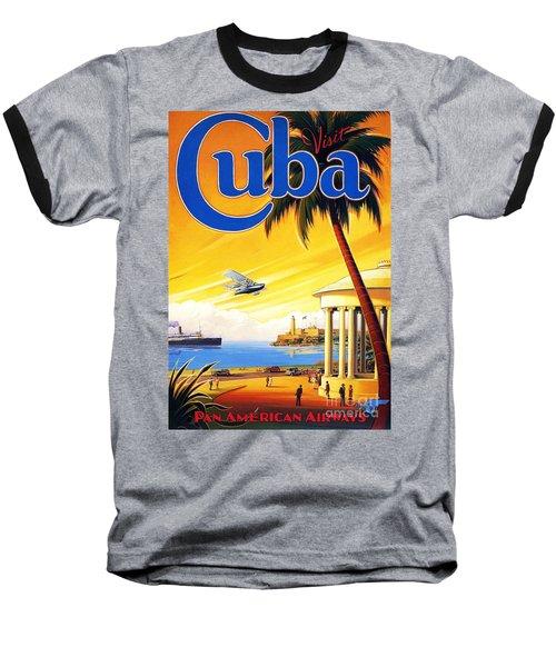 Visit Cuba Baseball T-Shirt by Reproduction