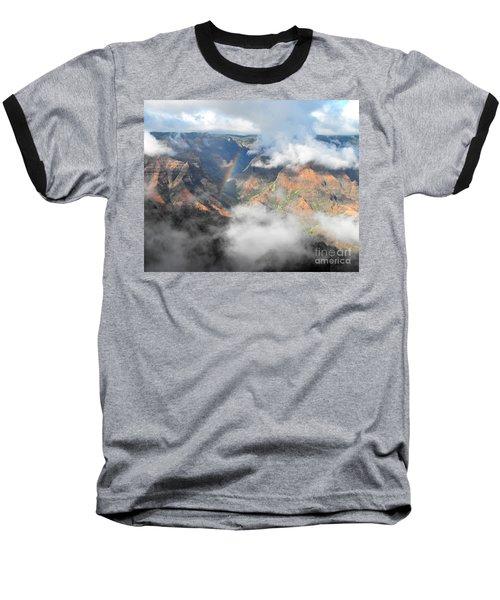 Waimea Canyon Rainbow Baseball T-Shirt by Rebecca Margraf