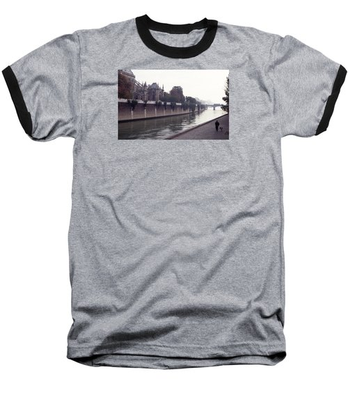 Baseball T-Shirt featuring the photograph Walking The Dog Along The Seine by Tom Wurl