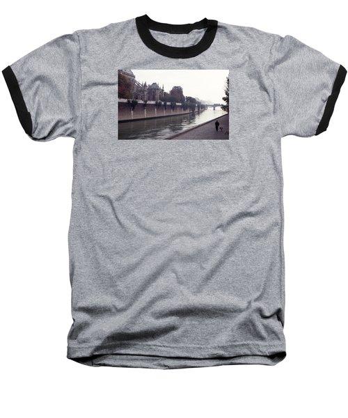 Walking The Dog Along The Seine Baseball T-Shirt by Tom Wurl