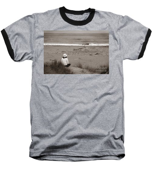 Watching The Ocean In Black And White Baseball T-Shirt
