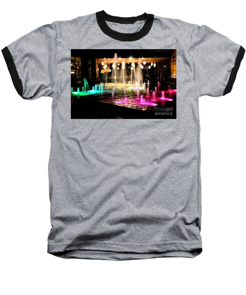 Water Fountain With Stars And Blue Green With Pink Lights Baseball T-Shirt