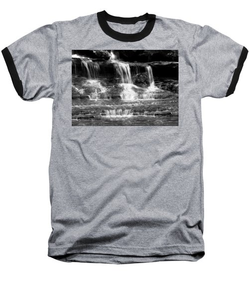 Waterfall Trio At Mcconnells Mill State Park In Black And White Baseball T-Shirt
