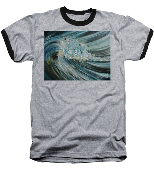 Baseball T-Shirt featuring the painting Wave Whirl by Julie Brugh Riffey