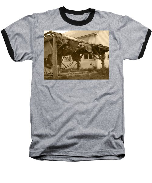 Weathered And Blown To Pieces Baseball T-Shirt by Kym Backland