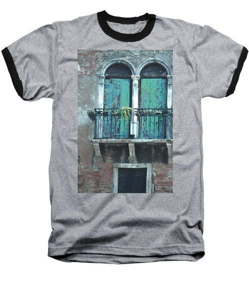 Baseball T-Shirt featuring the photograph Weathered Venice Porch by Tom Wurl