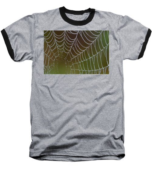 Baseball T-Shirt featuring the photograph Web With Dew by Daniel Reed