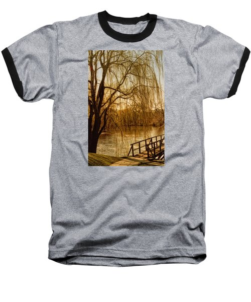 Baseball T-Shirt featuring the photograph Weeping Willow And Bridge by Barbara Middleton
