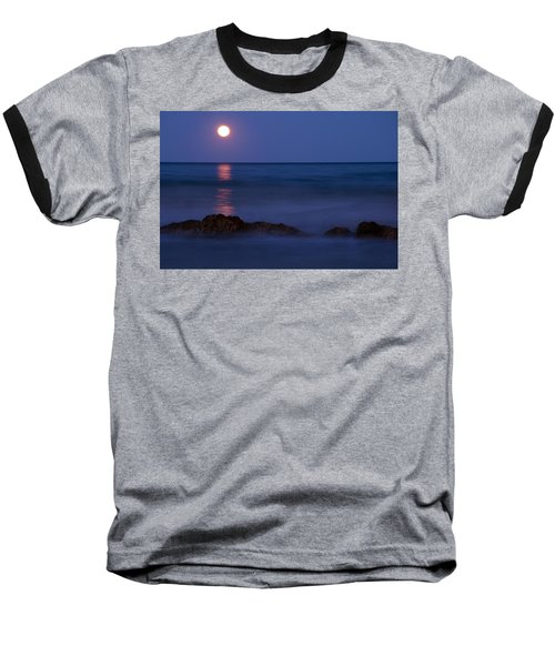 Wells Beach Maine Moonrise Baseball T-Shirt