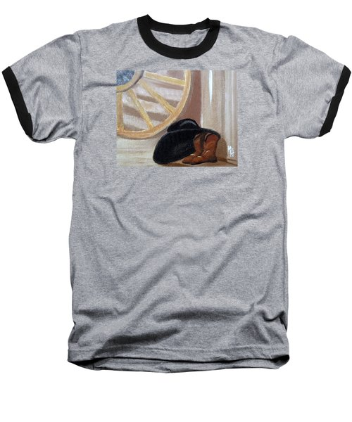 Baseball T-Shirt featuring the painting Western Art Work For Luke by Margaret Harmon