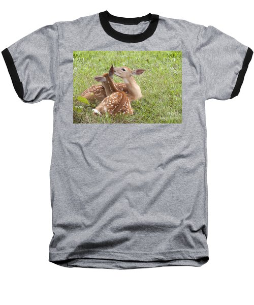 Baseball T-Shirt featuring the photograph Whispering Fawns by Jeannette Hunt