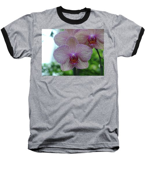 White And Pink Orchid Baseball T-Shirt