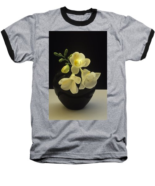 White Freesias In Black Vase Baseball T-Shirt