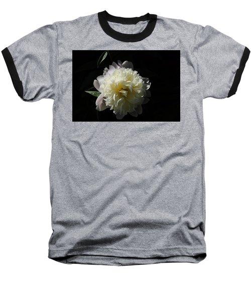 White On Black Peony Baseball T-Shirt