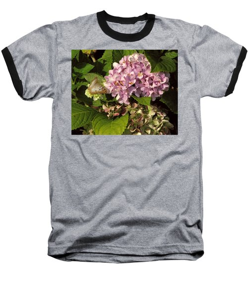 White Peacock On Hydrangea Baseball T-Shirt