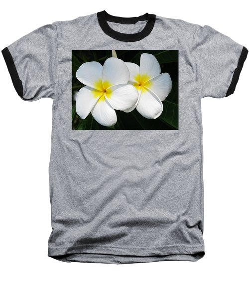 White Plumerias Baseball T-Shirt