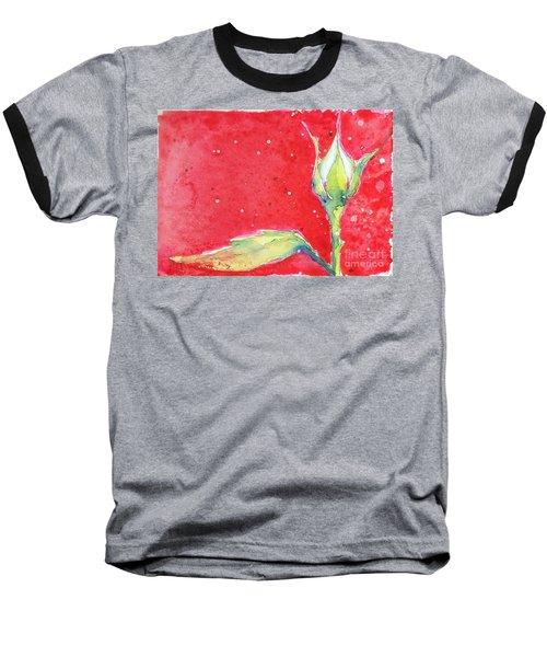White Rosebud Baseball T-Shirt