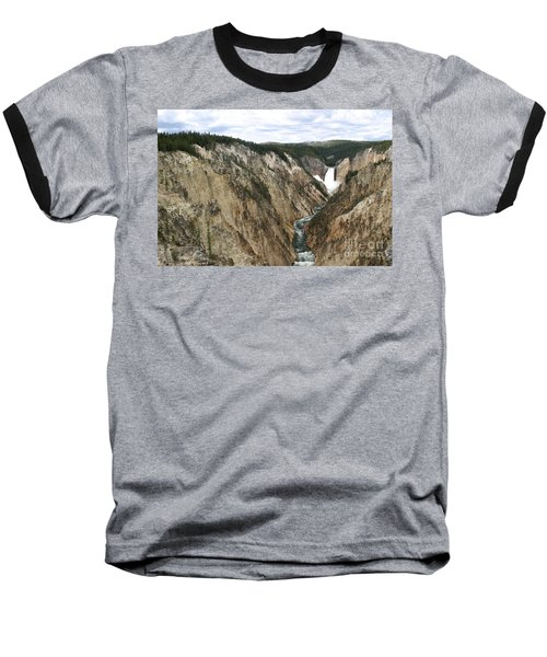 Wide View Of The Lower Falls In Yellowstone Baseball T-Shirt by Living Color Photography Lorraine Lynch