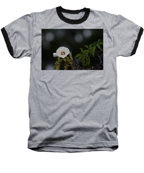 Baseball T-Shirt featuring the photograph Wildflower On Fence by Ed Gleichman