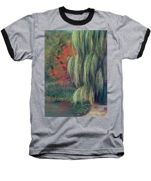 Baseball T-Shirt featuring the drawing Willow Tree - Hidden Lake Gardens -tipton Michigan by Yoshiko Mishina
