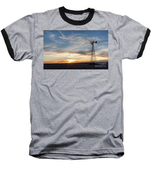 Baseball T-Shirt featuring the photograph Windmill And Sunset by Art Whitton