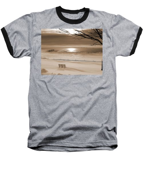 Winter Beach Morning Sepia Baseball T-Shirt