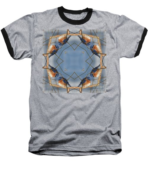 Winter Bluebird Kaleidoscope Baseball T-Shirt by Smilin Eyes  Treasures