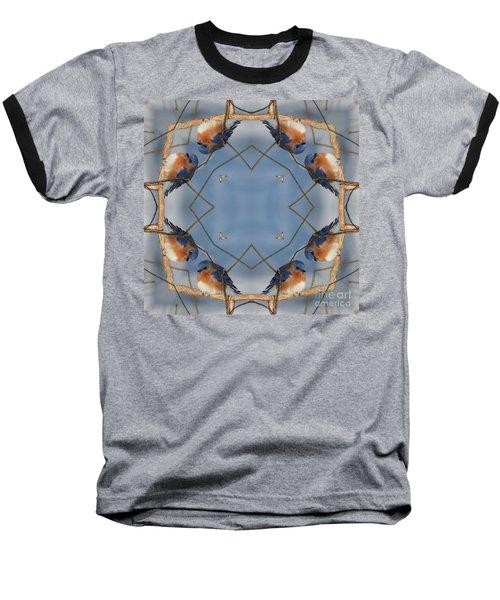 Winter Bluebird Kaleidoscope Baseball T-Shirt by Smilin Eyes  Treasures
