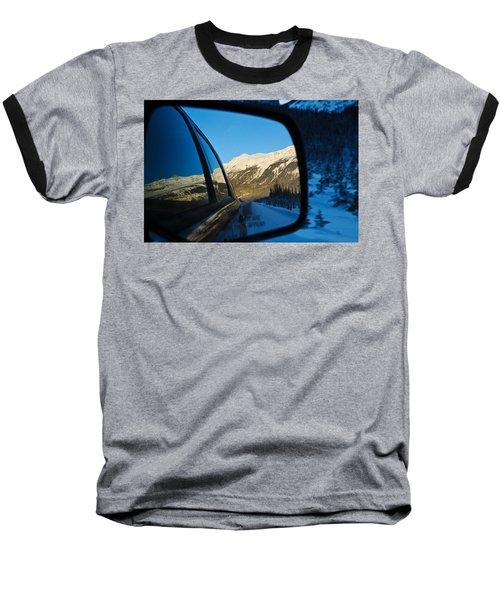 Winter Landscape Seen Through A Car Mirror Baseball T-Shirt