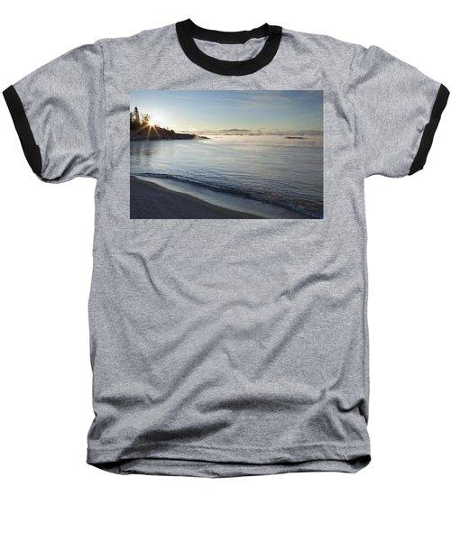 Winter Mist On Lake Superior At Sunrise Baseball T-Shirt