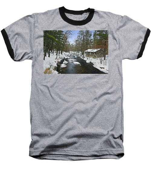 Baseball T-Shirt featuring the photograph Winter Saxeville Log Cabin by Judy  Johnson