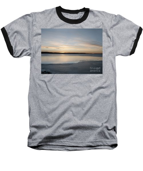 Baseball T-Shirt featuring the photograph Winter Sunset Over Lake by Art Whitton