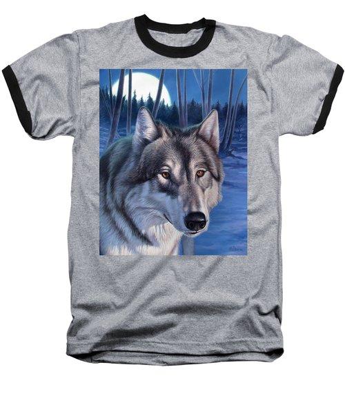 Wolf In Moonlight Baseball T-Shirt