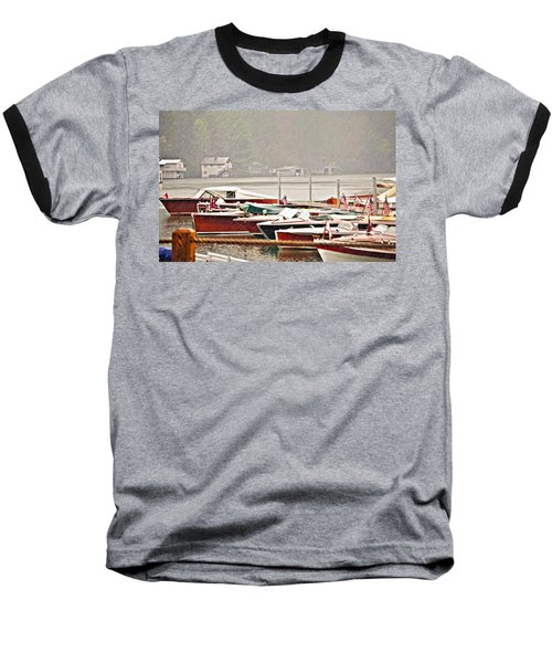 Wood Boats In The Rain Baseball T-Shirt