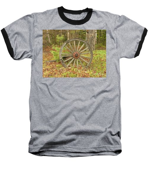 Baseball T-Shirt featuring the photograph Wood Spoked Wheel by Sherman Perry