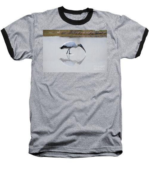 Baseball T-Shirt featuring the photograph Wood Stork Eating by Dan Friend