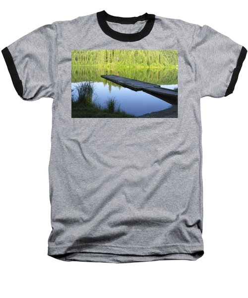 Baseball T-Shirt featuring the digital art Wooden Dock On Lake by Anne Mott